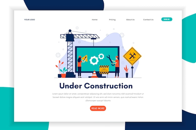Modern flat design under construction landing page for site