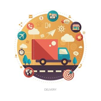 Современный плоский дизайн службы доставки бизнеса