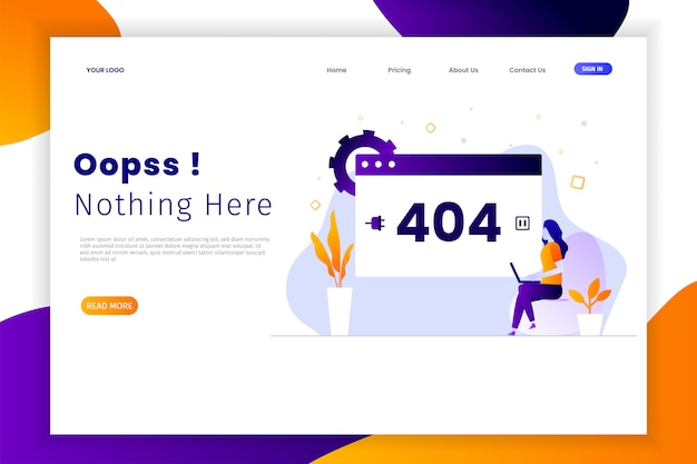 Modern flat design error 404 landing pages