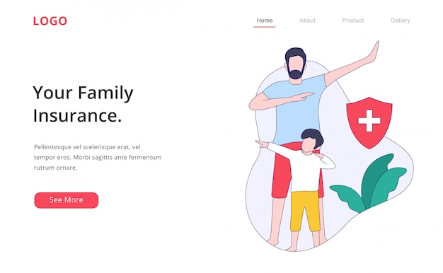 Modern flat design family insurance landing page website