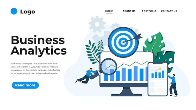 ビジネス分析のモダンなフラットデザインイラスト。ウェブサイトやモバイルウェブサイト、またはランディングページに使用できます。図