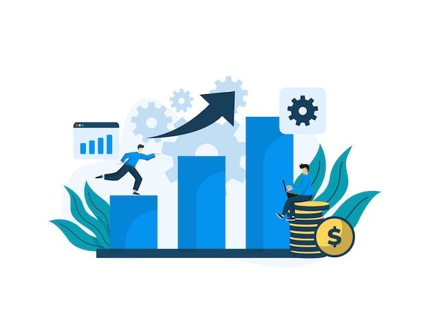Современный плоский дизайн иллюстрация аналитики данных. может использоваться для веб-сайта и мобильного веб-сайта или целевой страницы. иллюстрация