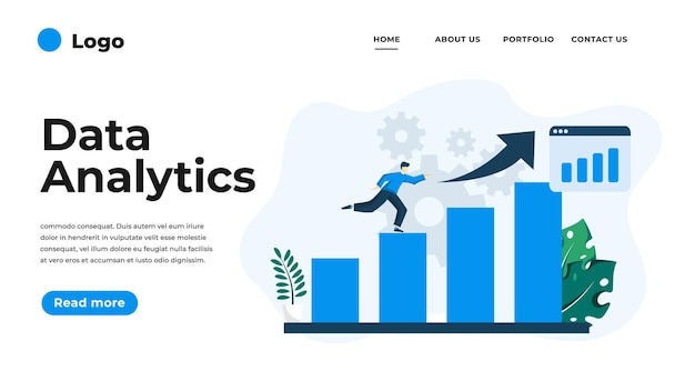 データ分析のモダンなフラットデザインイラスト。ウェブサイトやモバイルウェブサイト、またはランディングページに使用できます。図