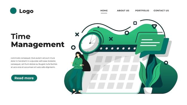 시간 관리의 현대적인 평면 디자인 일러스트입니다.