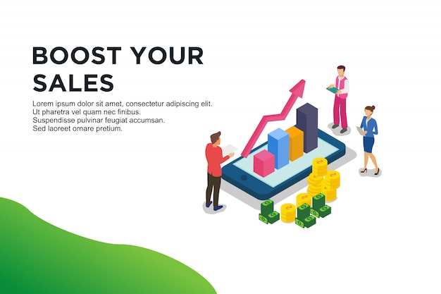 Modern flat design isometric concept of boost sales