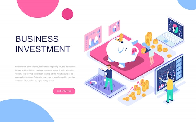 Modern flat design isometric concept of business investment