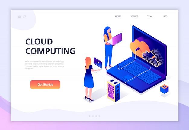 Modern flat design isometric concept of cloud technology