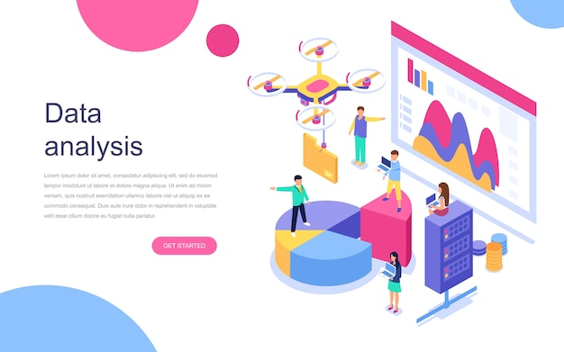 Modern flat design isometric concept of data analysis