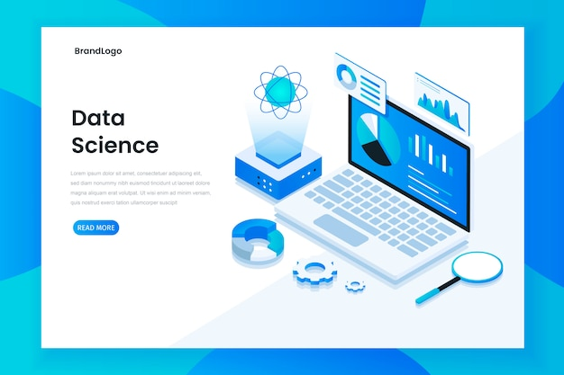 Modern flat design isometric concept of data science
