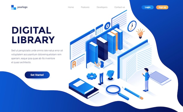Modern flat design isometric concept of digital library