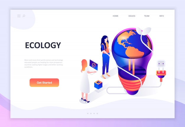 Modern flat design isometric concept of ecology earth