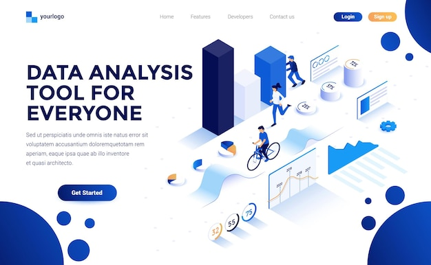 Modern flat design isometric concept of landing page