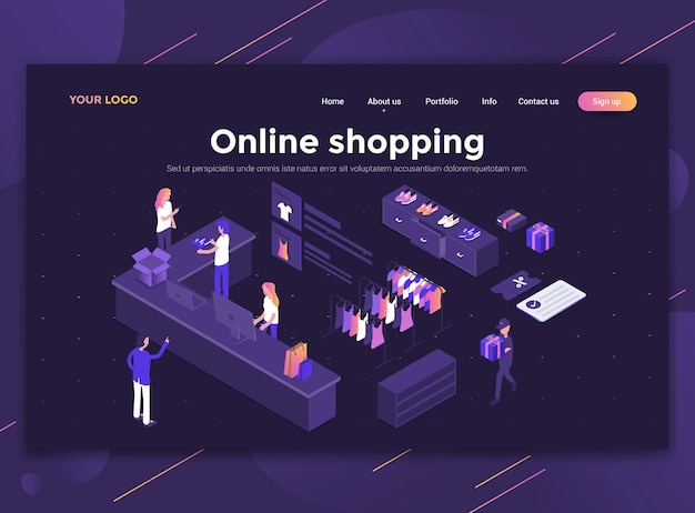 Modern flat design isometric concept landing page