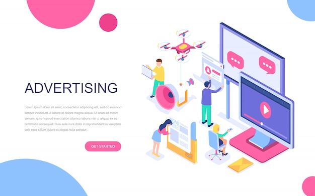 広告の現代フラットデザインの等尺性の概念