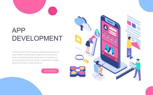 응용 프로그램 개발의 현대적인 평면 디자인 아이소 메트릭 개념