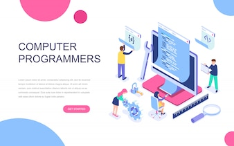 Modern flat design isometric concept of Computer Programmers