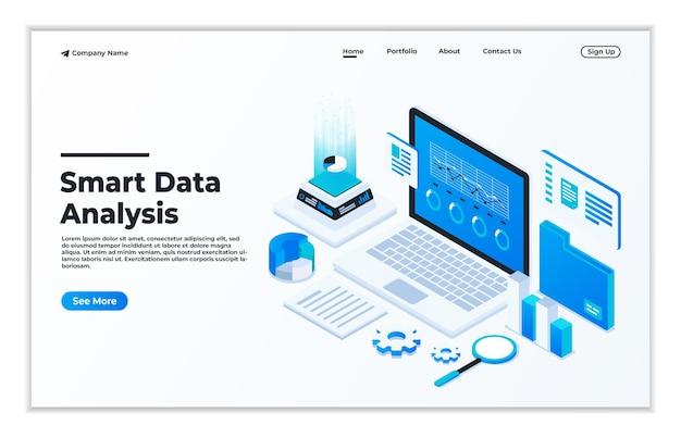 웹 사이트 및 모바일 웹 사이트 방문 페이지에 대한 데이터 분석의 현대적인 평면 디자인 아이소메트릭 개념