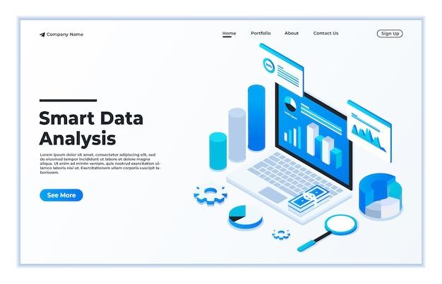 ウェブサイトとモバイルウェブサイトのランディングページのデータ分析のモダンなフラットデザインアイソメトリックコンセプト