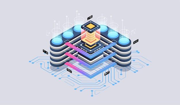 データ分析のモダンなフラットデザインアイソメトリックコンセプト