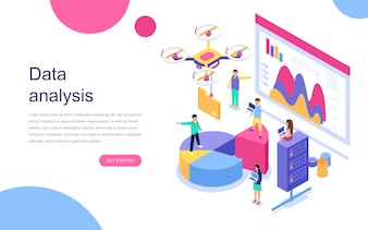 Modern flat design isometric concept of Data Analysis