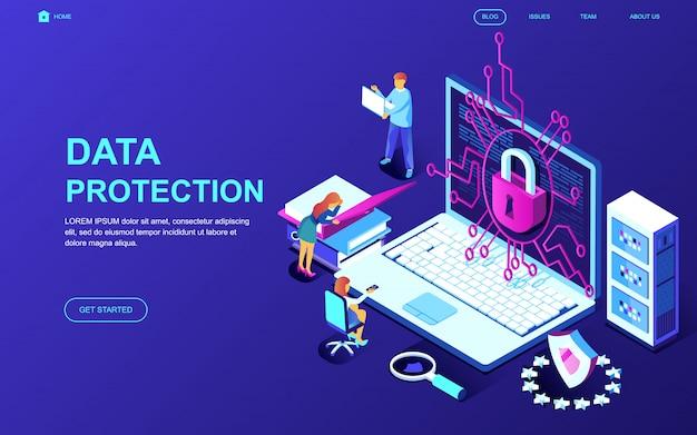 데이터 보호의 현대적인 평면 디자인 아이소 메트릭 개념