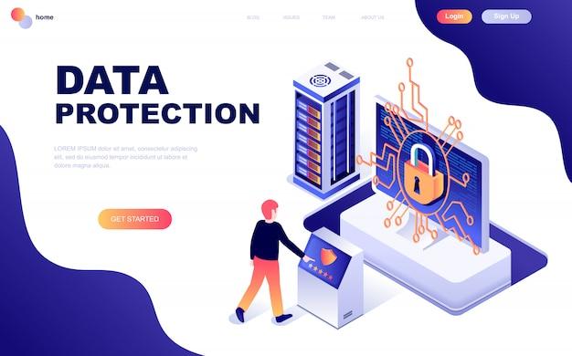 データ保護のモダンなフラットデザイン等尺性概念