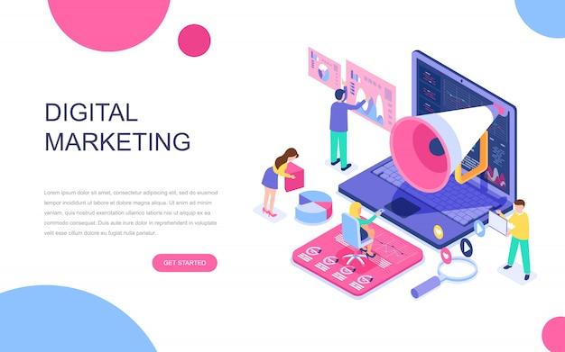 デジタルマーケティングの近代的なフラットデザインの等尺性概念