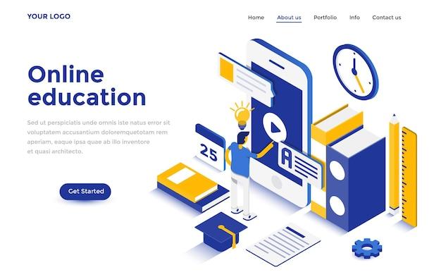 ウェブサイトとモバイルウェブサイトのためのオンライン教育のモダンなフラットデザインアイソメトリックコンセプト。ランディングページテンプレート。編集とカスタマイズが簡単です。ベクトルイラスト Premiumベクター