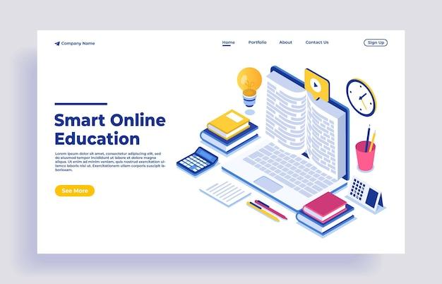 オンライン教育のモダンなフラットデザインアイソメトリックコンセプト