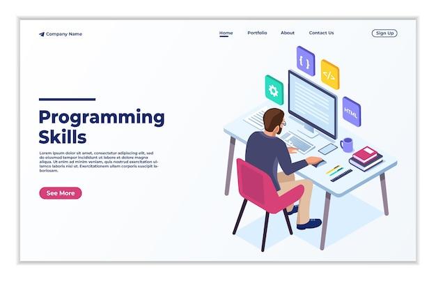 ウェブサイトとモバイルウェブサイトのプログラミングスキルのモダンなフラットデザインアイソメトリックコンセプト