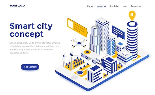 ウェブサイトとモバイルウェブサイトのためのスマートシティのモダンなフラットデザインアイソメトリックコンセプト。ランディングページテンプレート。編集とカスタマイズが簡単です。ベクトルイラスト