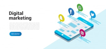 Modern flat design isometric concept of social media and digital marketing