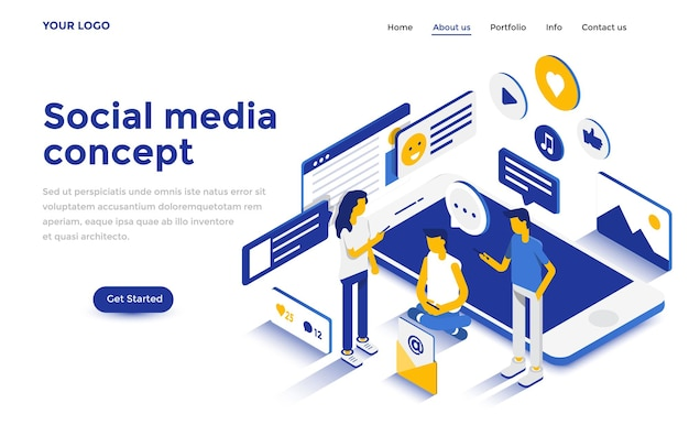 웹사이트 및 모바일 웹사이트에 대한 소셜 미디어 개념의 현대적인 평면 디자인 아이소메트릭 개념. 방문 페이지 템플릿입니다. 쉽게 편집하고 사용자 정의할 수 있습니다. 벡터 일러스트 레이 션