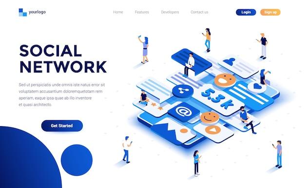 Современный плоский дизайн изометрической концепции веб-сайта социальной сети