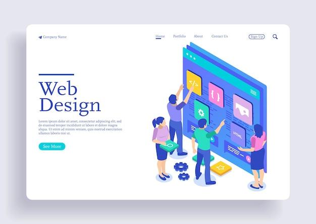 ウェブサイトとモバイルウェブサイトのランディングページのためのウェブ開発のモダンなフラットデザインアイソメトリックコンセプト