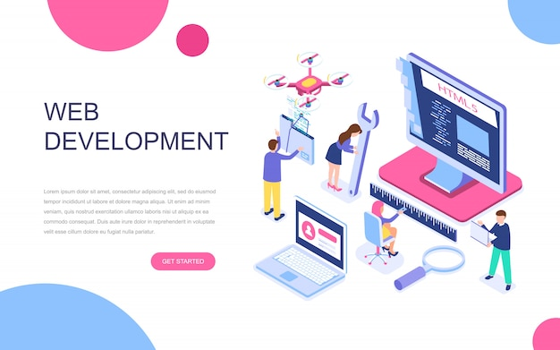 웹 개발의 현대적인 평면 디자인 아이소 메트릭 개념