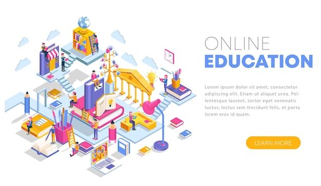 Modern flat design isometric concept of online education landing page template