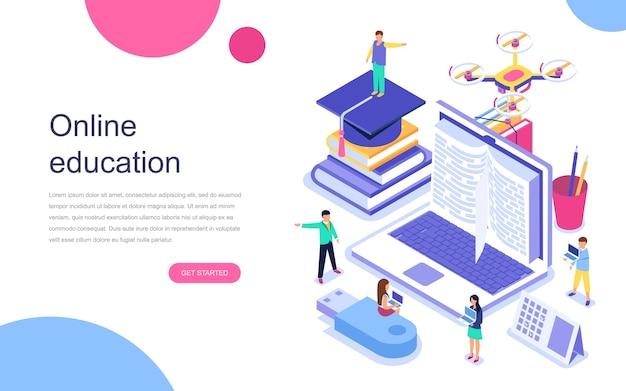 Modern flat design isometric concept of online education