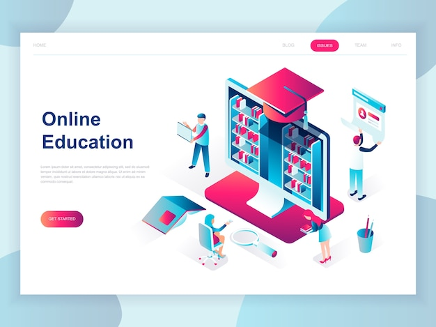 Modern flat design isometric concept of online education
