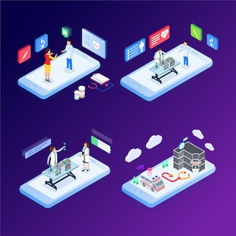 Modern flat design isometric concept of online medicine and healthcare for banner and website. isometric landing page template. vector illustration.