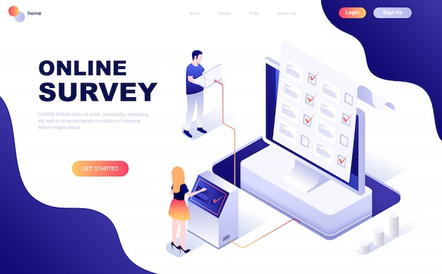 Modern flat design isometric concept of online survey