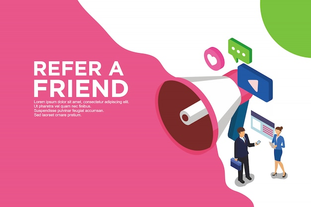 Modern flat design isometric concept of refer a friend.