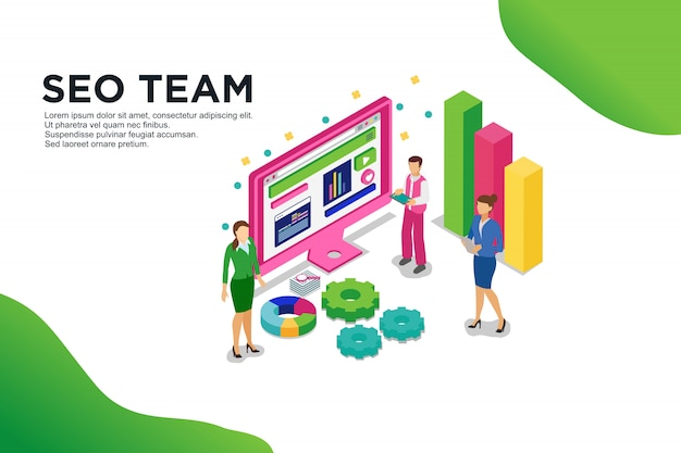 Modern flat design isometric concept of seo team