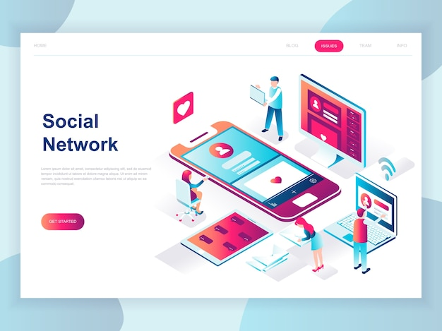Modern flat design isometric concept of social network