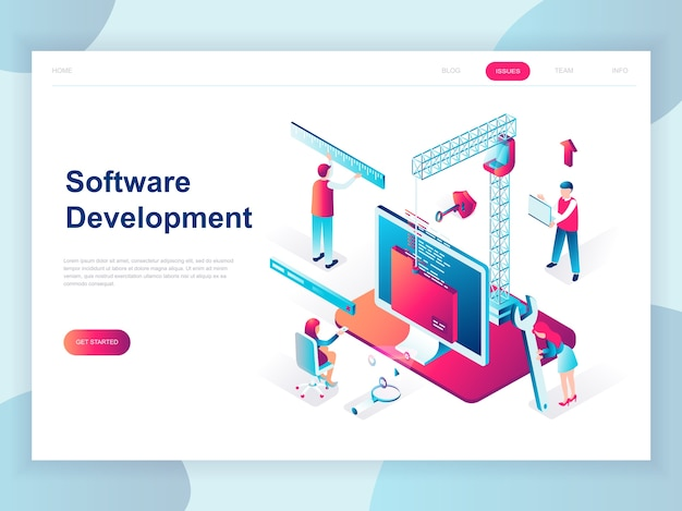 Modern flat design isometric concept of software development