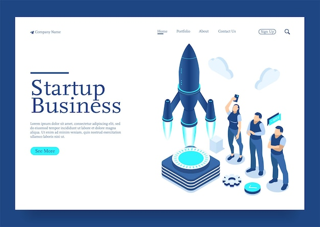 Modern flat design isometric concept of startup your project for website isometric concept