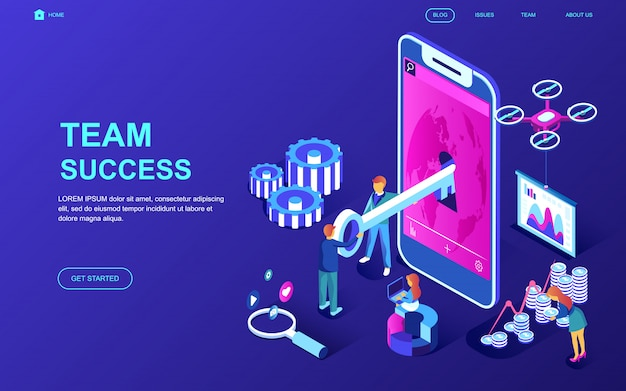 Modern flat design isometric concept of team success