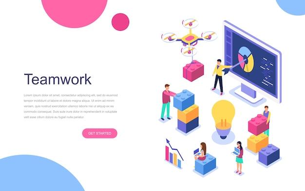 Modern flat design isometric concept of teamwork