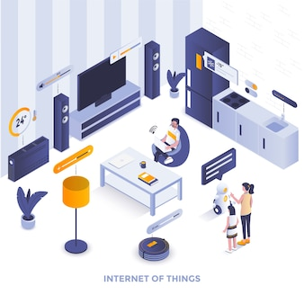Modern flat design isometric illustration of internet of things