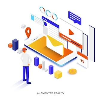 拡張現実のモダンなフラットデザインの等角図。ウェブサイトやモバイルサイト、またはランディングページに使用できます。編集とカスタマイズが簡単です。ベクトルイラスト